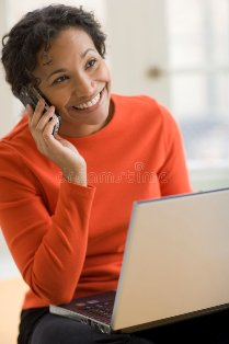 Woman with cell_laptop